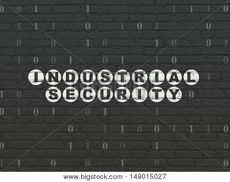 Safety concept: Painted white text Industrial Security on Black Brick wall background with Binary Code