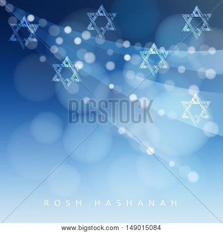 Rosh Hashanah Jewish New Year holiday or Hannukah greeting card with lights and Jewish stars. Modern blurred vector illustration background