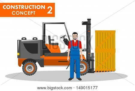Detailed illustration of forklift and worker in flat style on white background.