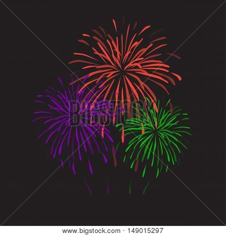 Fireworks on black background. Festive vector illustration. Flat design. Holiday card.