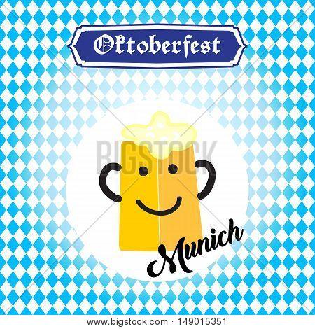 Oktoberfest greeting card with beer mag smiley on blue Bavarian flag pattern. Germany beer fest background.