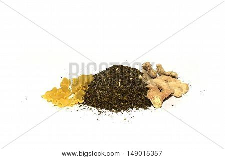 pasta with mushrooms and spices on a white background