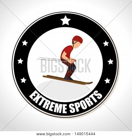 man  skiing extreme sports Badge Stamp. colorful design. vector illustration