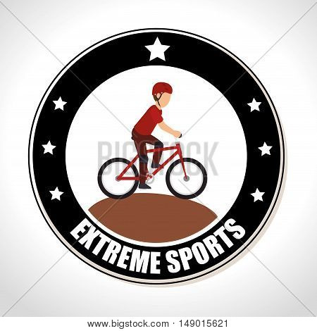 Bicycle motocross bmx extreme sports Badge Stamp. colorful design. vector illustration