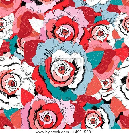 Seamless nature beautiful graphics red and white roses
