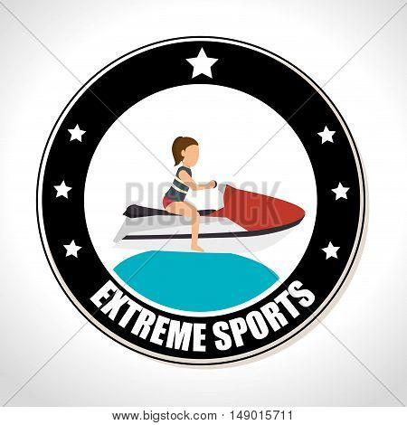 jet ski extreme sports Badge Stamp. colorful design. vector illustration