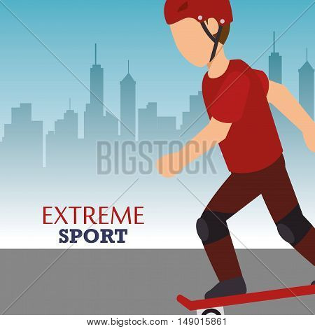 man training skateboarding extreme sport. colorful design. vector illustration
