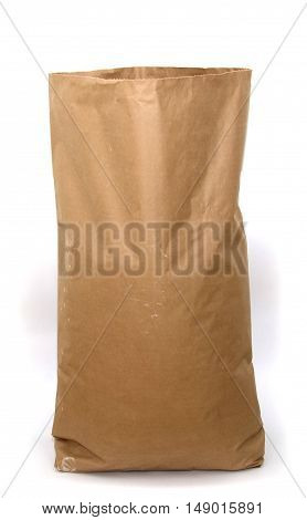 Open Blank brown craft paper bag isolated on white background