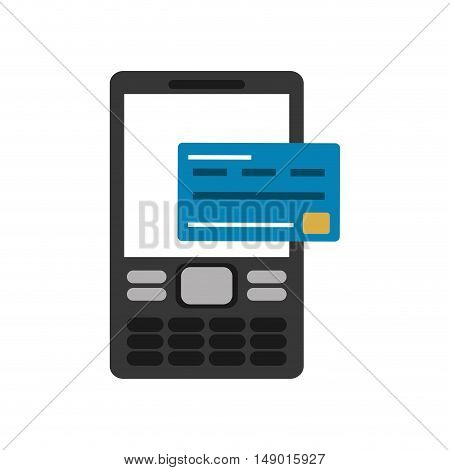 flat design cellphone and credit card icon vector illustration