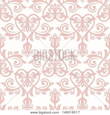 Seamless pink baroque vector pattern. Traditional classic orient ornament