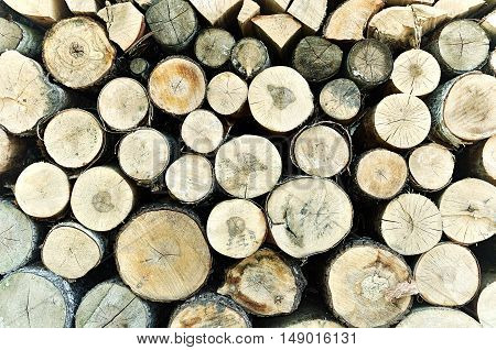 Natural wooden background - closeup of chopped firewood. Firewood stacked and prepared for winter. Stacked tree wood logs - natural wooden background with tones correction