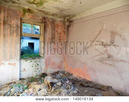 Old abandoned house interior, old damaged house