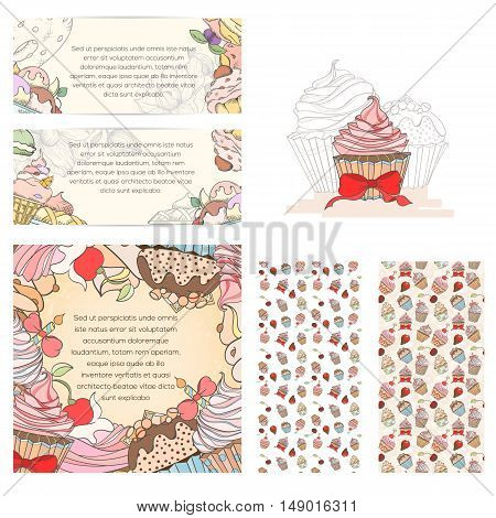 Cupcake card set can be used for can be used for holiday cards, invitation, postcard, menu or website. Sweat confection bright flyer.