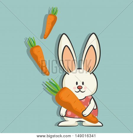 cute rabbit animal with orange carrots vegetable. colorful design. vector illustration