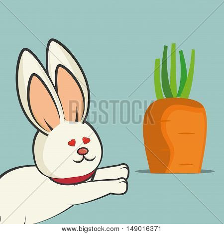 cute rabbit animal with orange carrot vegetable. colorful design. vector illustration
