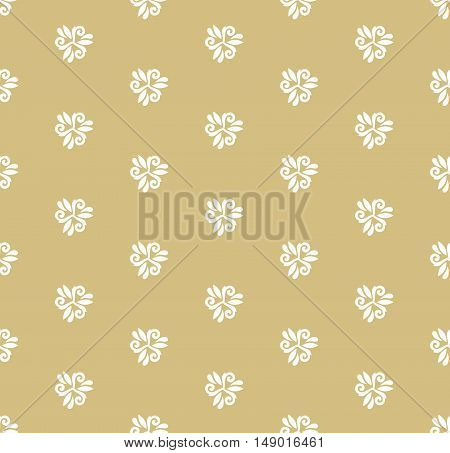 Floral vector golden and white ornament. Seamless abstract classic pattern with flowers