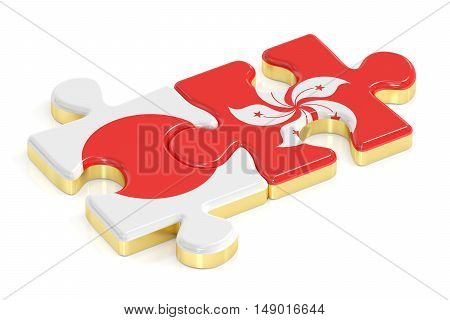 Japan and Hong Kong puzzles from flags 3D rendering
