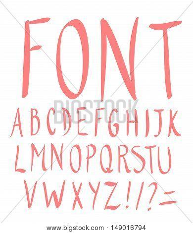 Hand drawn alphabet. Slim style. Vector Illustration.