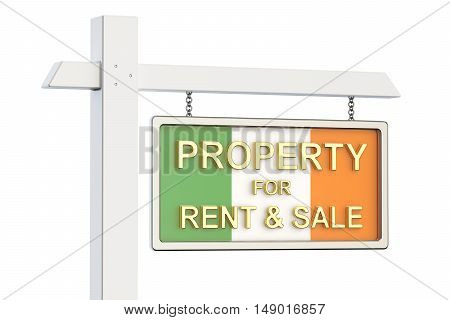 Property for sale and rent in Ireland concept. Real Estate Sign 3D rendering isolated on white background