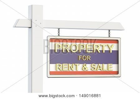 Property for sale and rent in Thailand concept. Real Estate Sign 3D rendering isolated on white background