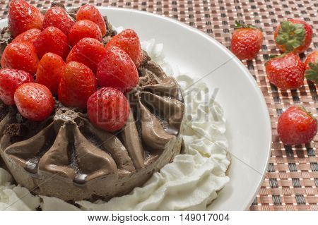 chocolate ice cream with strawberries on the chocolate