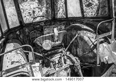 Old Abandoned Tractor Cabin Interior