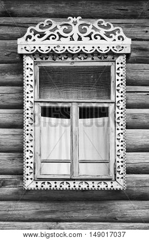 Window With Carved Wooden Frame