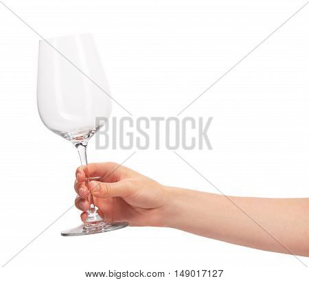 Female Hand Holding Empty Clean Transparent Wine Glass