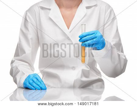 Female In Gown And Gloves Holding Test Tube With Sorbent