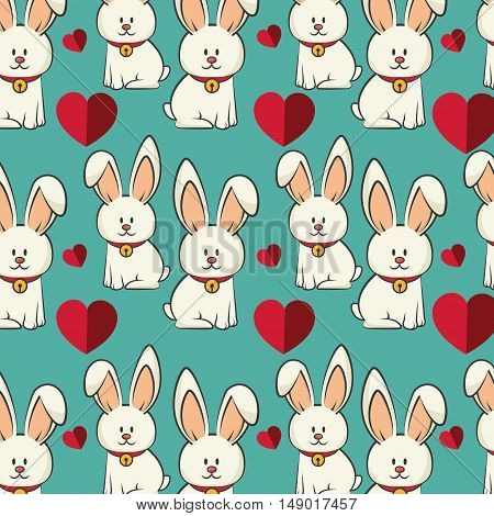 cute rabbit animal and red hearts. bunny background. colorful design. vector illustration