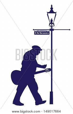 Vector Orleans Street Old Musician with Acoustic Guitar Silhouette
