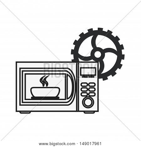 flat design microwave oven and gear icon vector illustration