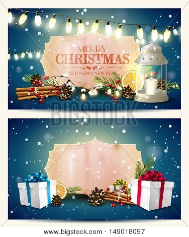 Vector Set Of Two Christmas Headers