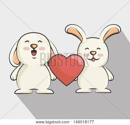 cute rabbits animal with red heart shape. love bunnys. colorful design. vector illustration