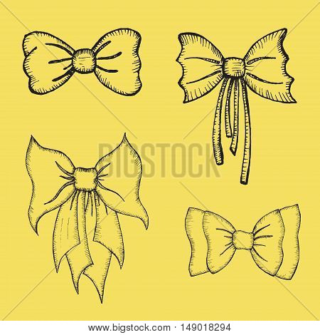 Set with Hand Drawn Black Bows with Hatching on the Yellow Background. Retro Styled Accessories. Vector EPS 10