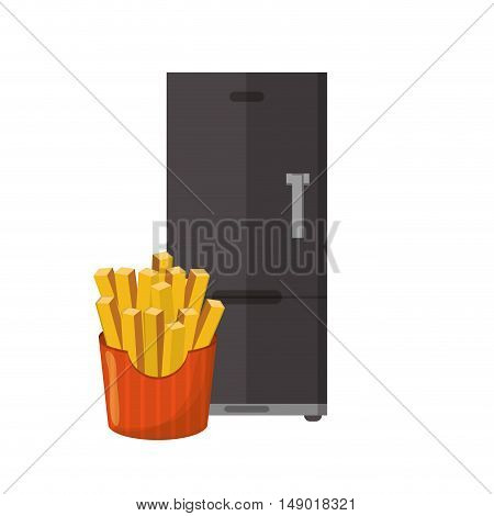 flat design fridge and french fries i icon vector illustration