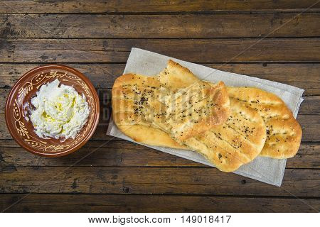 Barbari Or Persian Bread And Strained Yogurt