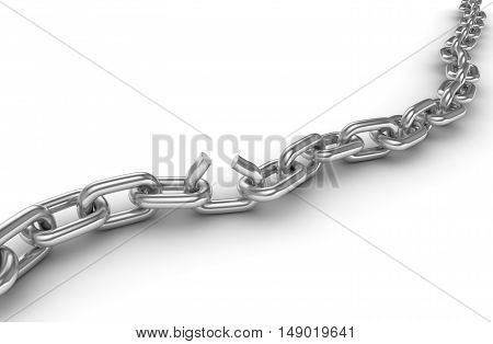 Broken chrome chain This is a 3d rendered computer generated image. Isolated on white.