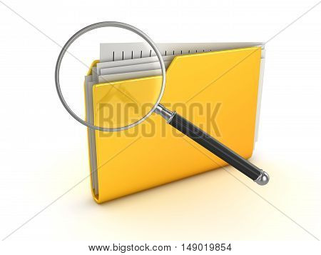Yellow folder and magnify glass This is a 3d rendered computer generated image. Isolated on white.