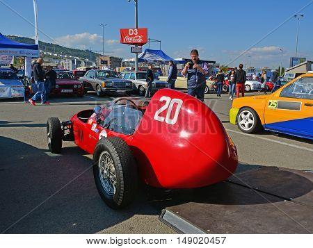 CLUJ-NAPOCA ROMANIA - SEPTEMBER 24 2016: Stanguellini Formula Junior oldtimer racing car parked in Polus Center parking lot