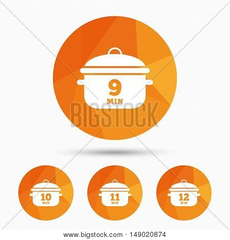 Cooking pan icons. Boil 9, 10, 11 and 12 minutes signs. Stew food symbol. Triangular low poly buttons with shadow. Vector