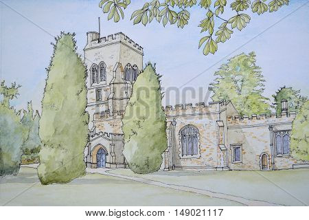 Ink and Watercolor Painting of St Marys Church Henlow Bedfordshire.