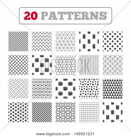 Ornament patterns, diagonal stripes and stars. Toilet paper icons. Kitchen roll towel symbols. WC paper signs. Geometric textures. Vector