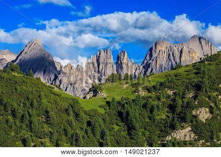 Beautiful landscape in Dolomites. Amazing Mountains in Northern Italy at evening light
