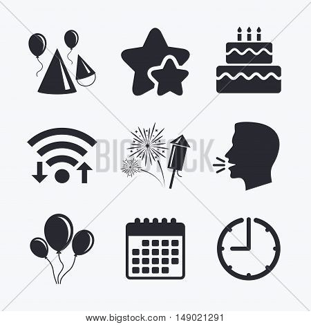 Birthday party icons. Cake, balloon, hat and muffin signs. Fireworks with rocket symbol. Double decker with candle. Wifi internet, favorite stars, calendar and clock. Talking head. Vector