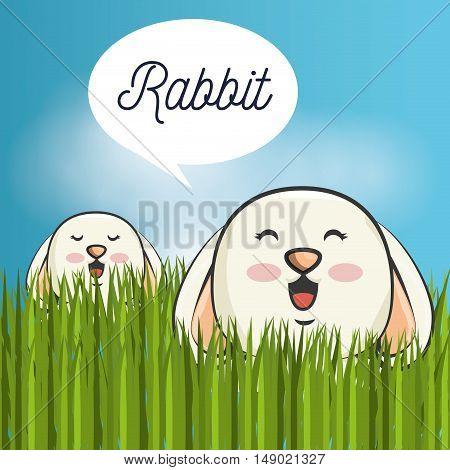 cute rabbit animal. bunny cartoon. colorful design. vector illustration