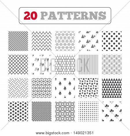 Ornament patterns, diagonal stripes and stars. Birthday party icons. Cake, balloon, hat and muffin signs. Fireworks with rocket symbol. Cupcake with candle. Geometric textures. Vector