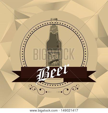 flat design bottle of beer emblem image vector illustration