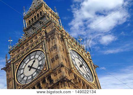 The Big Ben close up on a blue sky, England United Kingdom