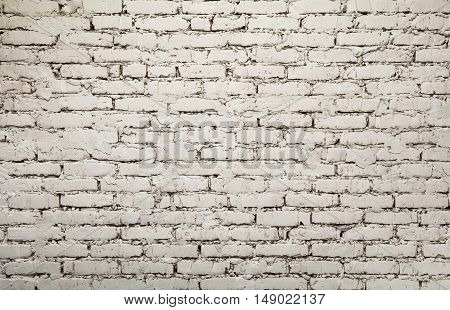 Old White Painted Grunge Brick Wall Background